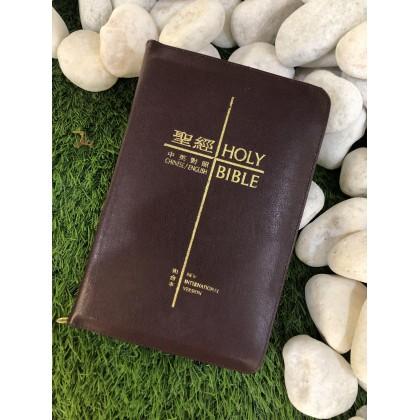 BIBLE-中英圣经和合本袖珍皮面-红色金边拉链(繁体)